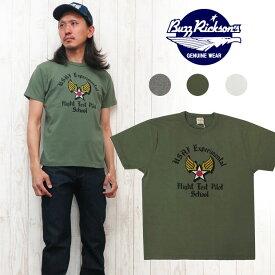バズリクソンズ Buzz Rickson's SLUB YARN 半袖 プリント Tシャツ ステンシル風「FLIGHT TEST」 BR77592