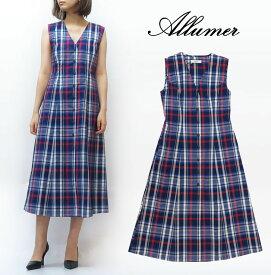 Allumer アリュメール Vネック ドレス ワンピース チェック レディース 8274211