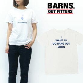 バーンズ BARNS レディース 半袖 プリント Tシャツ ホワイト BR-7914F