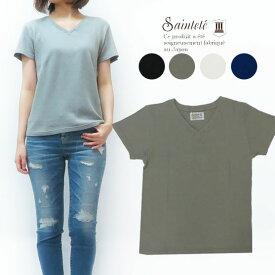 Saintete サンテテ レディース 半袖 Vネック Tシャツ 日本製 MADE IN JAPAN AM001