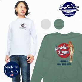 バズリクソンズ BUZZ RICKSON'S 長袖 Tシャツ ジル・エルブグレン GIL ELVGREN KNOCK ピンナップガール MADE IN USA BR68082