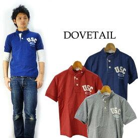ダブテイル DOVETAIL フェルトワッペン半袖ヘンリーネックTシャツ「USC」
