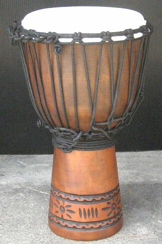 インドネシア・木製ジャンベ☆木彫りSサイズ(SC)☆