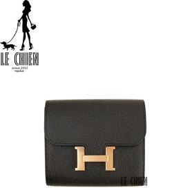 新品 エルメス HERMES コンスタンス コンパクト Portefeuille Constance compact ミニ財布 サイフ ブラック ピンクゴールド金具 エプソン