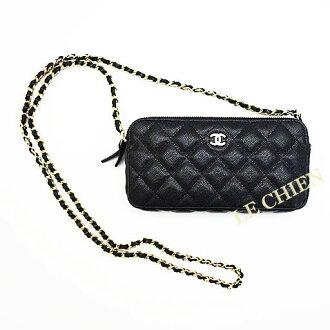 신품 샤네르마트랏세체밧그/클러치 가방/지갑/지갑 A82527 블랙 골드 쇠장식 캐비어 스킨 ☆☆