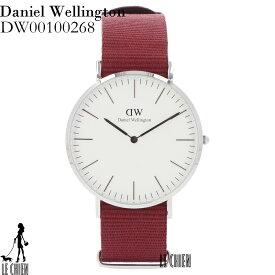 \悶絶プライス/DANIELWELLINGTON ダニエルウェリントン 腕時計 DW00100268 40mm ホワイト シルバー レッド メッシュ メンズ 127399