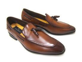 イタリアンモードにこだわったスリッポン!カルロメディチ 紳士靴 タッセル付き ローファーカジュアル ビジネス 送料無料 3Eワイズ CJ-3138 ブラウン