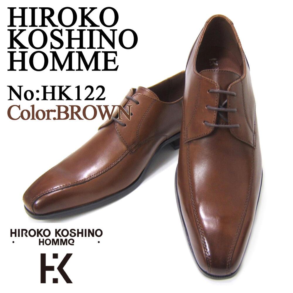 愛され続ける伝統のスワールモカ!HIROKO KOSHINO/ヒロコ コシノ ビジネス HK122 紳士靴 ブラウン スワールモカ ロングノーズ 3Eワイズ ビジネス 送料無料 ポイント10倍