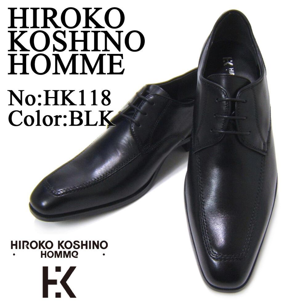 愛され続ける伝統のUチップトゥ!HIROKO KOSHINO/ヒロコ コシノ ビジネス HK118革靴 ブラック Uチップ ロングノーズ3Eワイズ ビジネス 送料無料 ビジネスマン応援祭 期間限定
