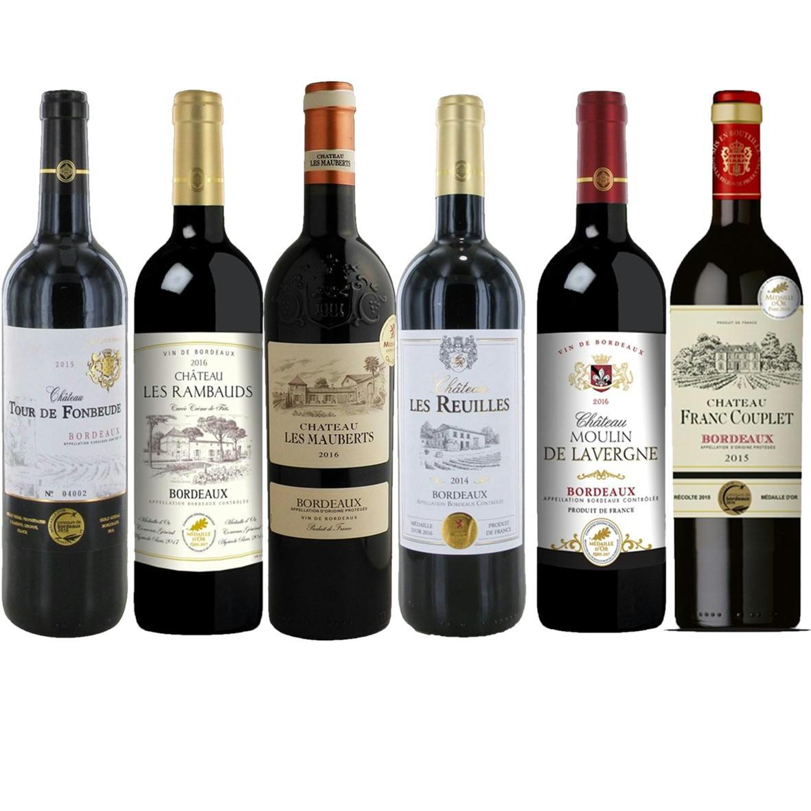 当店専属ソムリエが選んだフランスボルドー金賞受賞ワイン赤6本セット ダブルゴールド受賞ワイン含む