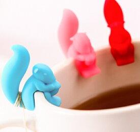 【メール便】 リス型ティーバッグホルダー コップ ふち コップのふち グラスマーカー アニマル りす 栗鼠 かわいい カラフル フチ プレゼント