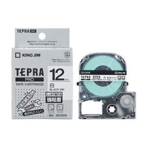 テプラ PRO用テープカートリッジ 強粘着ラベル 白 SS12KW [黒文字 12mm×8m]