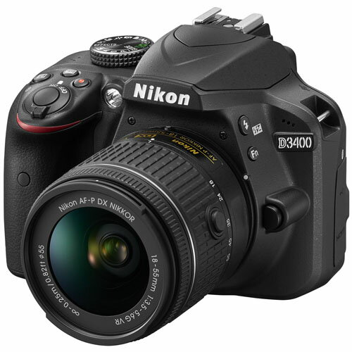 ニコン NIKON デジタル一眼レフカメラ D3400 18-55 VR レンズキット ブラック レンズ付き/スマホ自動転送/夜景/室内/高感度