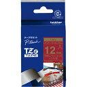 ブラザー TZe-RW34 ピータッチ リボンテープ 金文字/ワインレッド 12mm