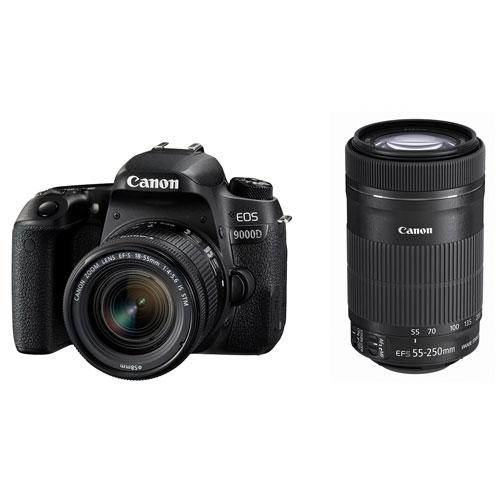 【長期保証付】キヤノン CANON 2420万画素 Bluetooth対応 デジタル一眼レフカメラ 標準ズームレンズ 望遠ズームレンズ 付属 EOS 9000D ダブルズームキット