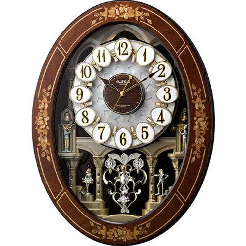 リズム時計 4MN546RH06(茶色象嵌仕上) スモールワールドレガロ 報時付電波掛け時計