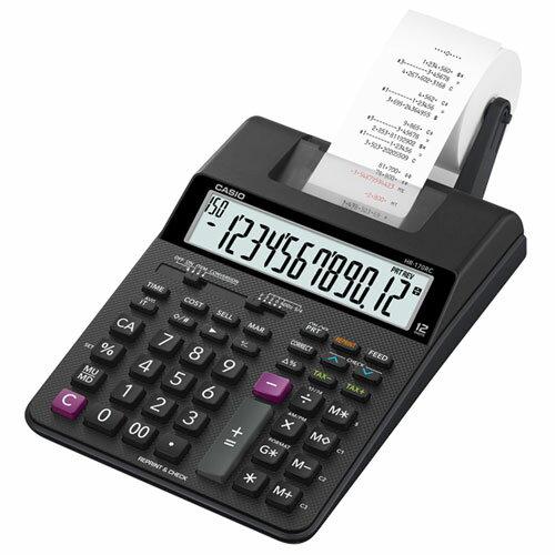 【長期保証付】CASIO HR-170RC-BK セミデスクタイプ 12桁 プリンター電卓