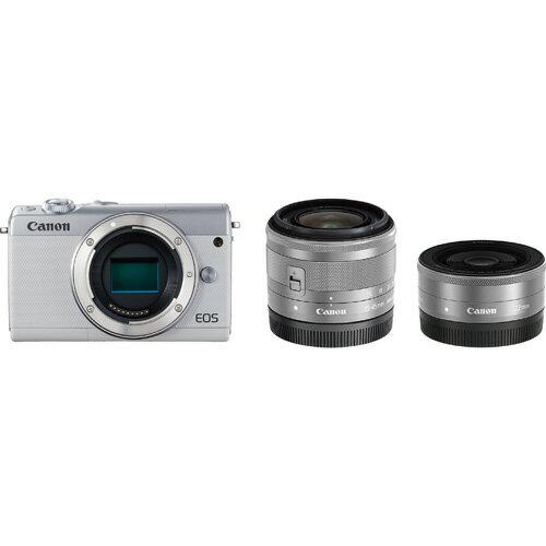 CANON キヤノン ミラーレス一眼カメラ ホワイト EOS M100 ダブルレンズキット 上側180度チルト/3.0型タッチパネル液晶パネル/約2420万画素CMOSセンサー/デュアルピクセルCMOS AF