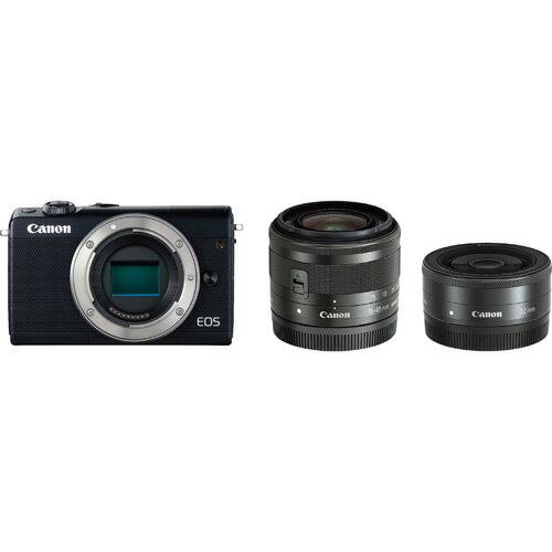 CANON キヤノン EOS M100 ミラーレス一眼カメラ ブラック ダブルレンズキット 上側180度チルト/3.0型タッチパネル液晶/約2420万画素CMOSセンサー搭載/デュアルピクセルCMOS AF