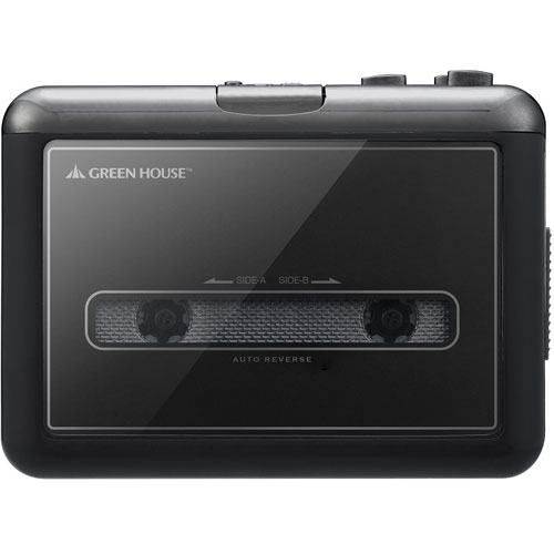 GREEN HOUSE グリーンハウス ポータブルカセットプレーヤー GH-YCTA-BK ブラック PC不要 SDカードダビング デジタルデータ化