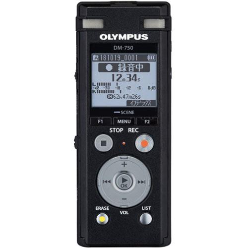 オリンパス OLYMPUS ICレコーダー 4GB Voice-Trek DM-750 BLK ブラック 2マイクノイズキャンセル/USB端子内蔵/声だけ再生