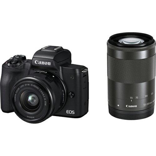 CANON キヤノン ミラーレス一眼カメラ ブラック EOS Kiss M ダブルズームキット 2410万画素APS-CサイズCMOSセンサー搭載/デュアルピクセルCMOS AF