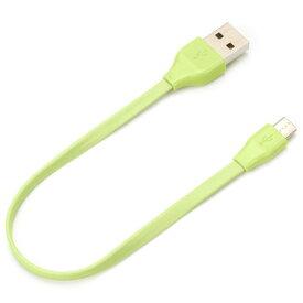 PGA PG-MUC01M10(グリーン) iCharger micro USB コネクタ USB フラットケーブル 15cm