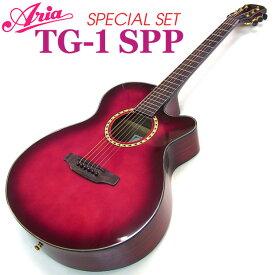 アコギ 初心者 ARIA TG-1 SPP 9点 セット カッタウェイタイプ アコースティックギター 【アウトレット】 【アコギ 初心者】【送料無料】