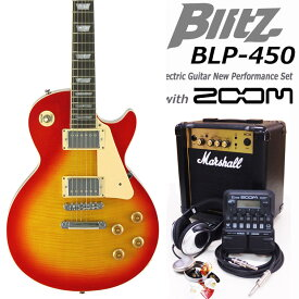 Blitz ブリッツ BLP-450 CS エレキギター マーシャルアンプ付 初心者セット16点 ZOOM G1on付き【エレキギター初心者】【送料無料】