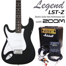 Legend レジェンド LST-Z LH/BK 左利きエレキギター マーシャルアンプ付 初心者セット16点 ZOOM G1on付き【エレキギター初心者】【送料無料】