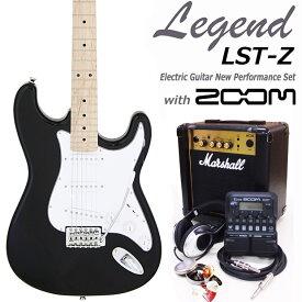 Legend レジェンド LST-Z M/BK エレキギター マーシャルアンプ付 初心者セット16点 ZOOM G1on付き【エレキギター初心者】【送料無料】