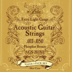 【3セットパック】ARIAアリアアコースティックギター弦AGS-203XL【ネコポス(np)送料210円(ポスト投函)】[旧メール便]