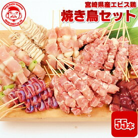 宮崎県産エビス鶏 焼き鳥セット[5本×11P]■冷凍品■【国内製造】【生串】【楽ギフ_のし宛書】