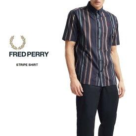 【月間優良ショップ】 フレッドペリー FRED PERRY ウェア ストライプ シャツ STRIPE SHIRT M8563 ネイビー 608 [おうち時間] [おうちファッション] [WA]【GOOI】