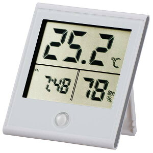 『メール便送料無料』デジタル温湿度計 時計機能付 ホワイト OHM 08-0091 TEM-210-W 壁掛け・スタンド対応 温度計 湿度計