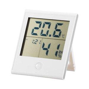 \エントリ&楽天カードポイント10倍!4/15限定/『メール便送料無料』デジタル温湿度計 ホワイト 快適表示・時計機能付 OHM 08-0020 TEM-200-W 壁掛け・スタンド対応 温度計 湿度計