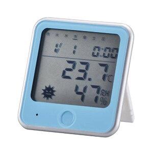 『メール便送料無料』ウイルス・熱中症注意機能付 温湿度計 ブルー OHM 08-0026 TEM-300-A 壁掛け・スタンド対応 温度計 湿度計 熱中症計