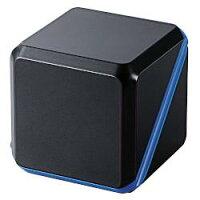 エレコムASP-SMP220BBK(メタルブラック×ブルー)_ステレオミニプラグ_モバイルスピーカー