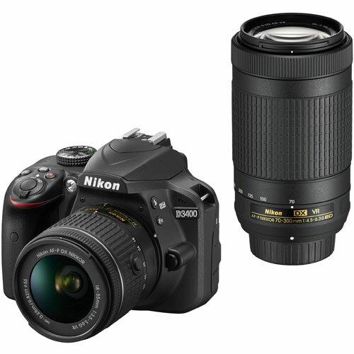 【長期保証付】ニコン(Nikon) デジタル一眼レフカメラ D3400 ブラック ダブルズームキット