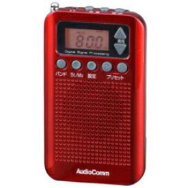オーム電機 RAD-P350N-R(レッド) RAD-P350Nシリーズ ポケットラジオ