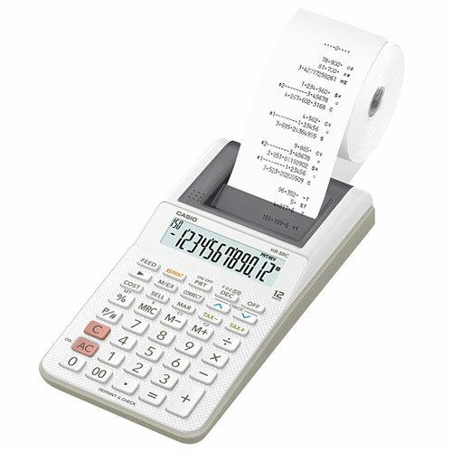 CASIO HR-8RC-WE ハンディタイプ 12桁 プリンター電卓