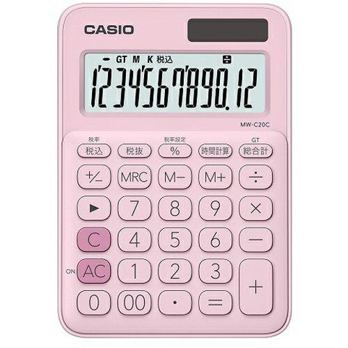 CASIO MW-C20C-PK(ペールピンク) カラフル電卓 12桁