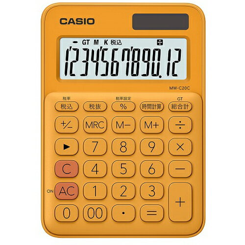 CASIO MW-C20C-RG(オレンジ) カラフル電卓 12桁