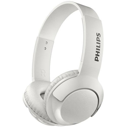 フィリップス SHB3075WT(ホワイト) Bass+ マイク付き密閉型オンイヤーワイヤレスヘッドホン