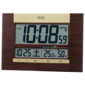 セイコー SQ440B(茶木目模様) 快適度表示付 電波掛時計