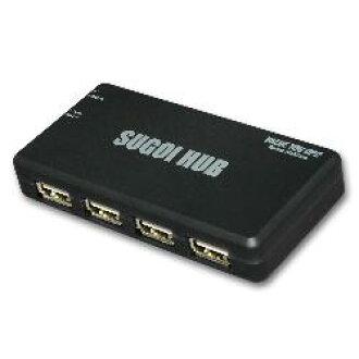 附带系统讲话SUGOI HUB 4X系列黑色适配器的USB2-HUB4XA-BK