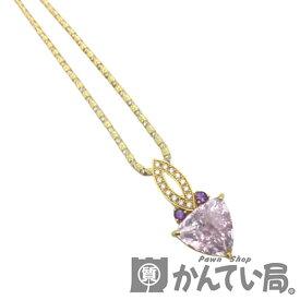 【中古】K18 YG/PGクンツァイトネックレス ダイヤモンド アメシスト ピンク ペンダントネックレス 6.23ct 鑑別書【USED-SA】