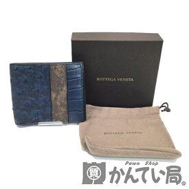 【中古】 BOTTEGA VENETA(ボッテガヴェネタ) 113993 二つ折り財布 カードケース 札入れ 財布 ブルー オーストリッチ 【USED-B】