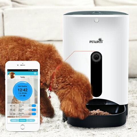 【送料無料】【愛犬・愛猫用】PETWANT PF-103 スマホアプリで遠隔操作 自動給餌機 4.3L大容量♪ 1日4回設定OK!★電池と電源2WAYタイプ