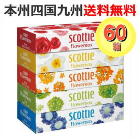 【送料無料】スコッティ フラワーボックスティッシュ 320枚(160組) 1ケース[60箱:1パック(5箱入)×12] 【160w】【ティッシュペーパー】【まとめ買い】